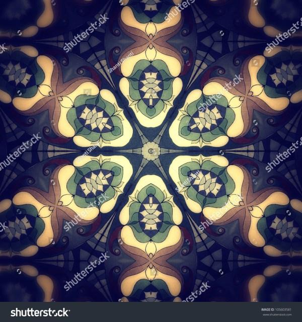 Mandala Flower Blue Fractal Mosaic Background High Resolution Abstract Stock