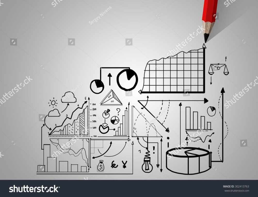 medium resolution of market concept with pencil drawing graphs and diagrams