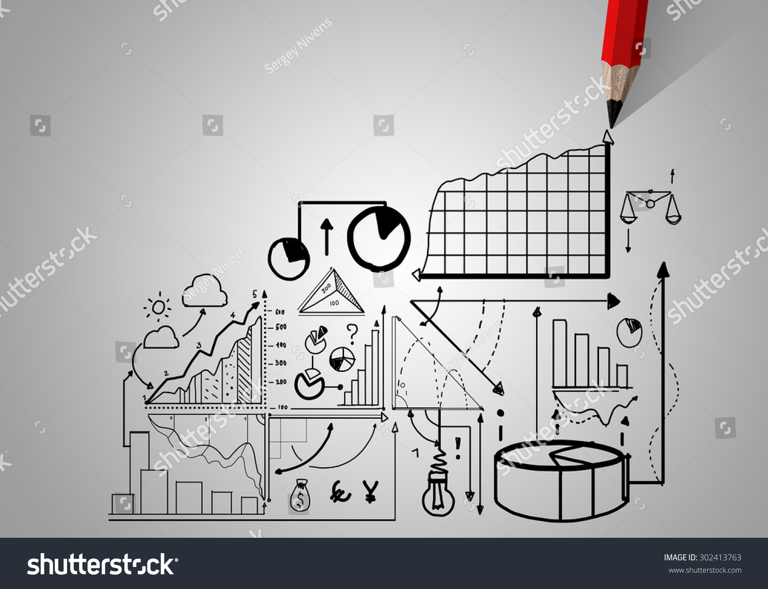 hight resolution of market concept with pencil drawing graphs and diagrams
