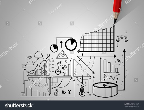 small resolution of market concept with pencil drawing graphs and diagrams