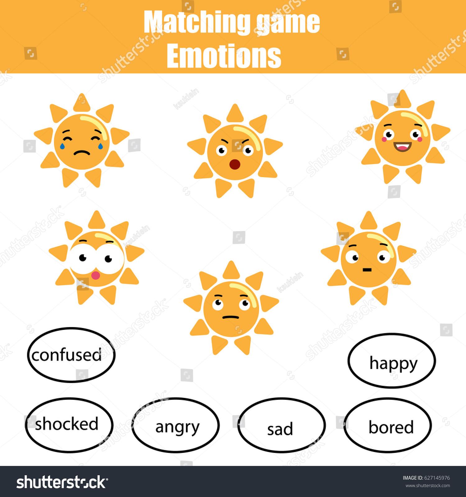 Matching Children Educational Game Match Sun Stock