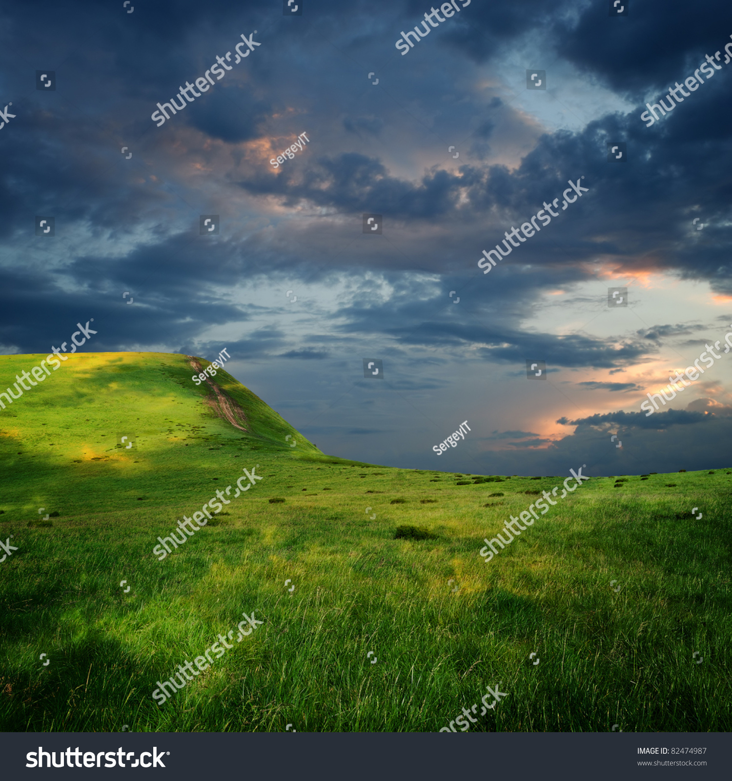 Meadow And Majestic Sky With Clouds Over The Green Hills Stock Photo 82474987 : Shutterstock