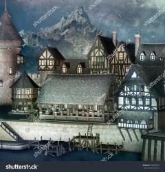 Medieval Fantasy Town Mountain Scenery 3d Stock Illustration 756350818