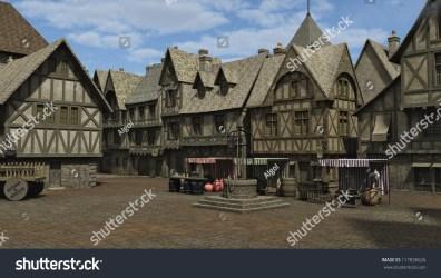 medieval fantasy town market square place 3d digitally rendered illustration shutterstock music