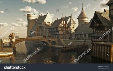 medieval town illustration fantasy docks waterside digitally rendered 3d shutterstock illustrations