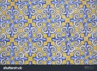 Mediterranean Spanish Design Ceramic Tile Wall Stock Photo ...