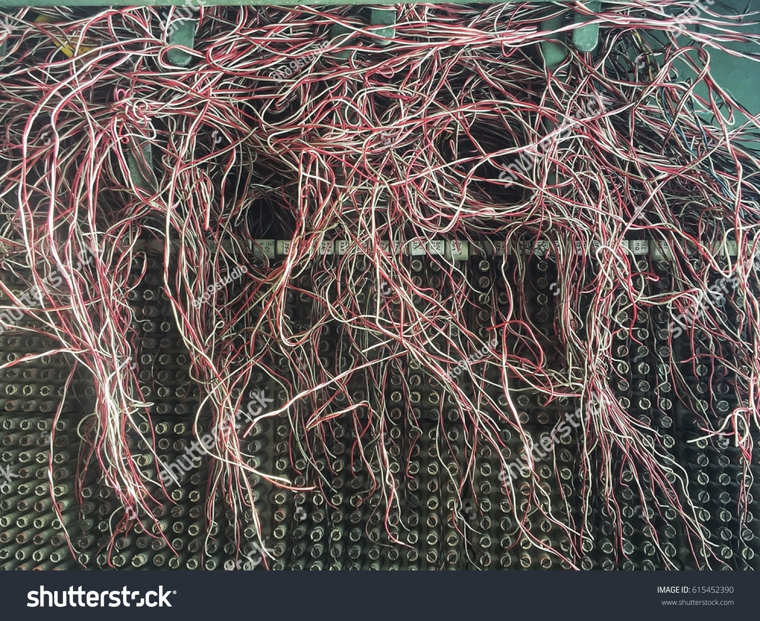 hight resolution of messy telephone wire in box