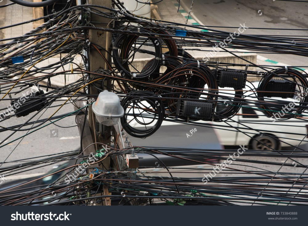 medium resolution of messy wires attached to electrical pole chaos of cables and wires on electric pole in