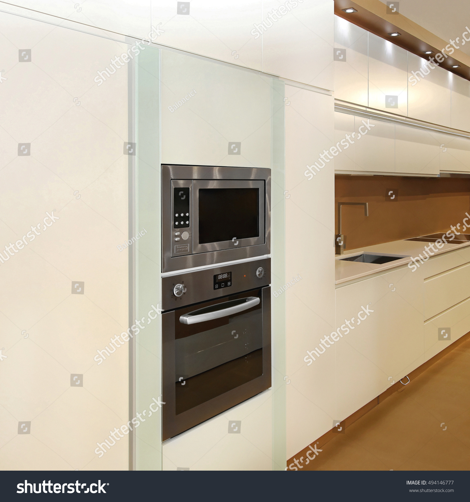 https www shutterstock com image photo microwave convection oven built new cabinet 494146777
