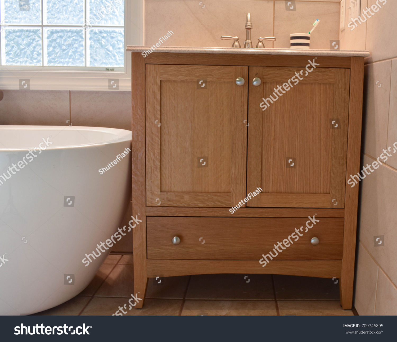 https www shutterstock com image photo mission style bathroom vanity made quarter 709746895
