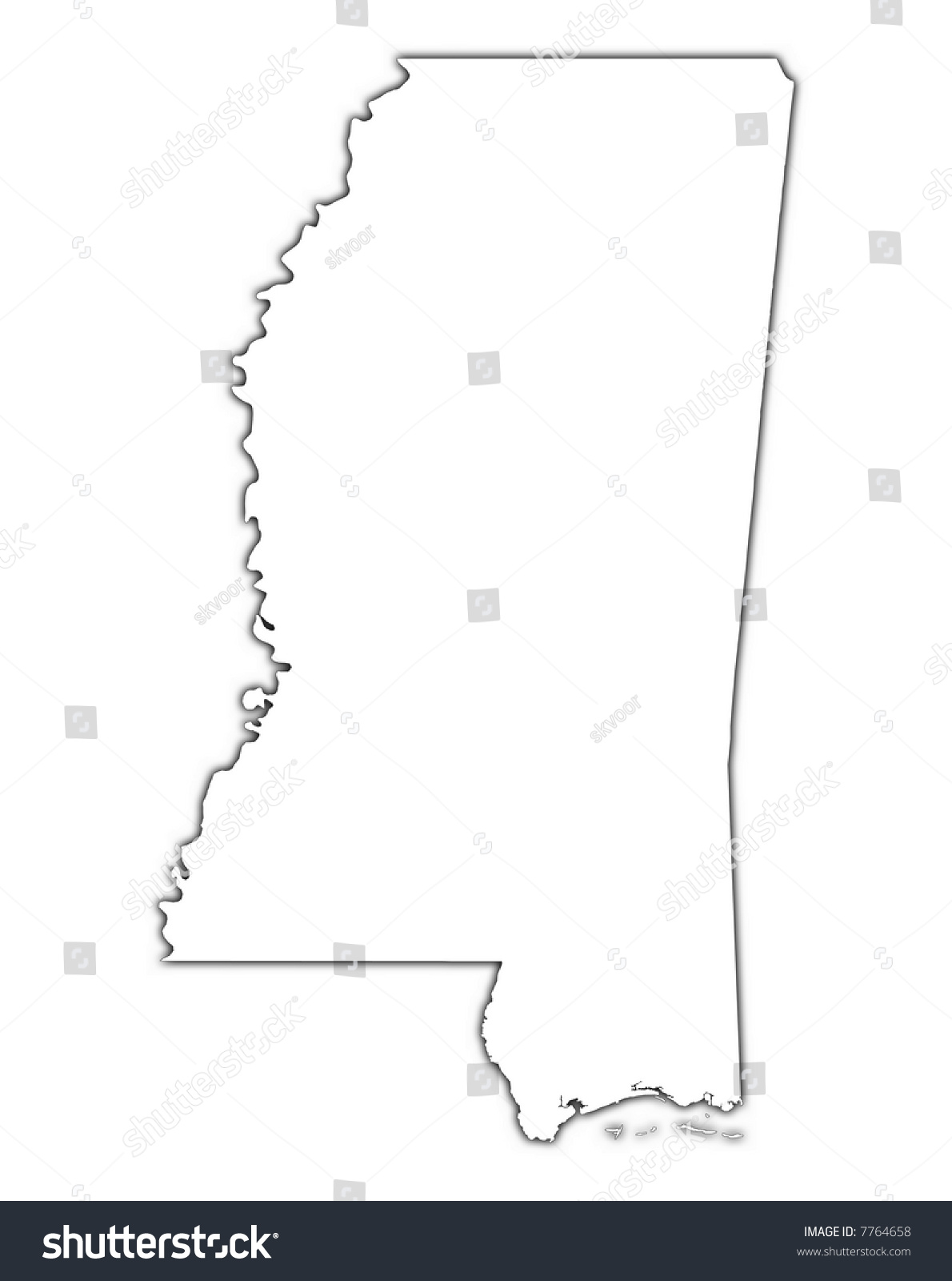 Mississippi State Map Outline.Oxford Mississippi State Map Outline