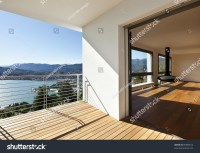 Modern Apartment, Balcony With Panoramic View Stock Photo ...