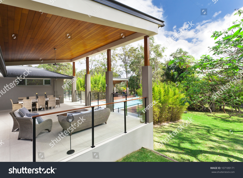 Modern Backyard With Entertaining Area In Stylish Australian Home Stock Photo 107189171 : Shutterstock