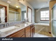 Modern Bathroom Separate Toilet Room Glass Stock