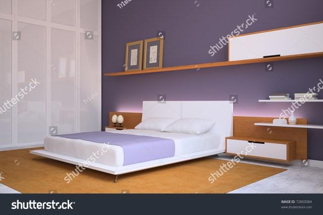 Modern Bedroom Interior. 3d Render. Stock Photo 72850084 ...