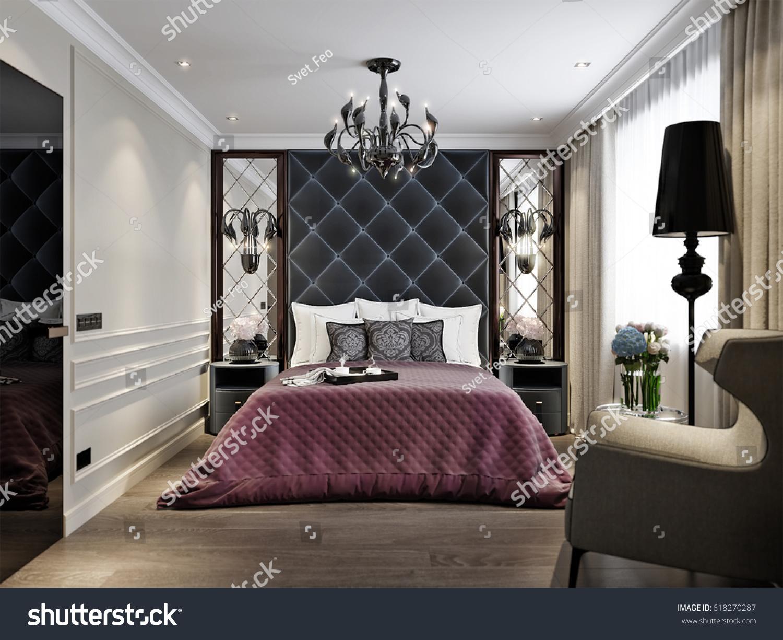 Modern Classic Art Deco Bedroom Interior Stock Illustration
