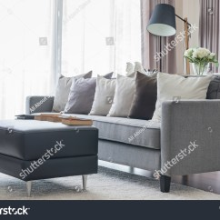 Grey Sofa Black Table Leather Sofas With Down Cushions Modern Pillows And In Living