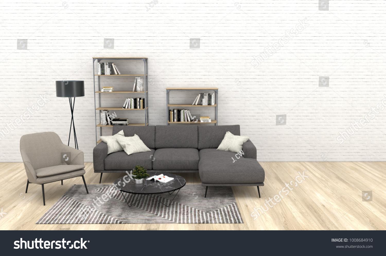 grey sofa living room carpet low price furniture modern interior dark stock illustration 1008684910 of with beige armchair wooden floor