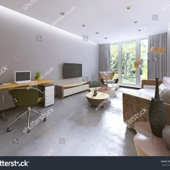 Kitschy Living Room Small Kitchen Diner Layouts Royalty Free Stock Illustration Of Modern Kitsch Style In With Tv Unit Bookcase And Work Space