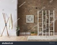 Modern Living Room Interior Bookshelf Behind Stock Photo ...