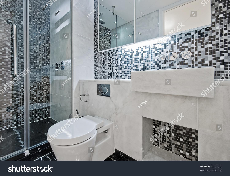 Modern Luxury Bathroom Floor Ceiling Mosaic Stock Photo