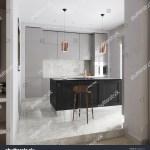 Modern Urban Contemporary Gray Kitchen Interior Stock Illustration 648084223