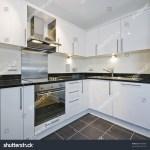 Modern White Kitchen Black Granite Worktop Stock Photo Edit Now 48460600