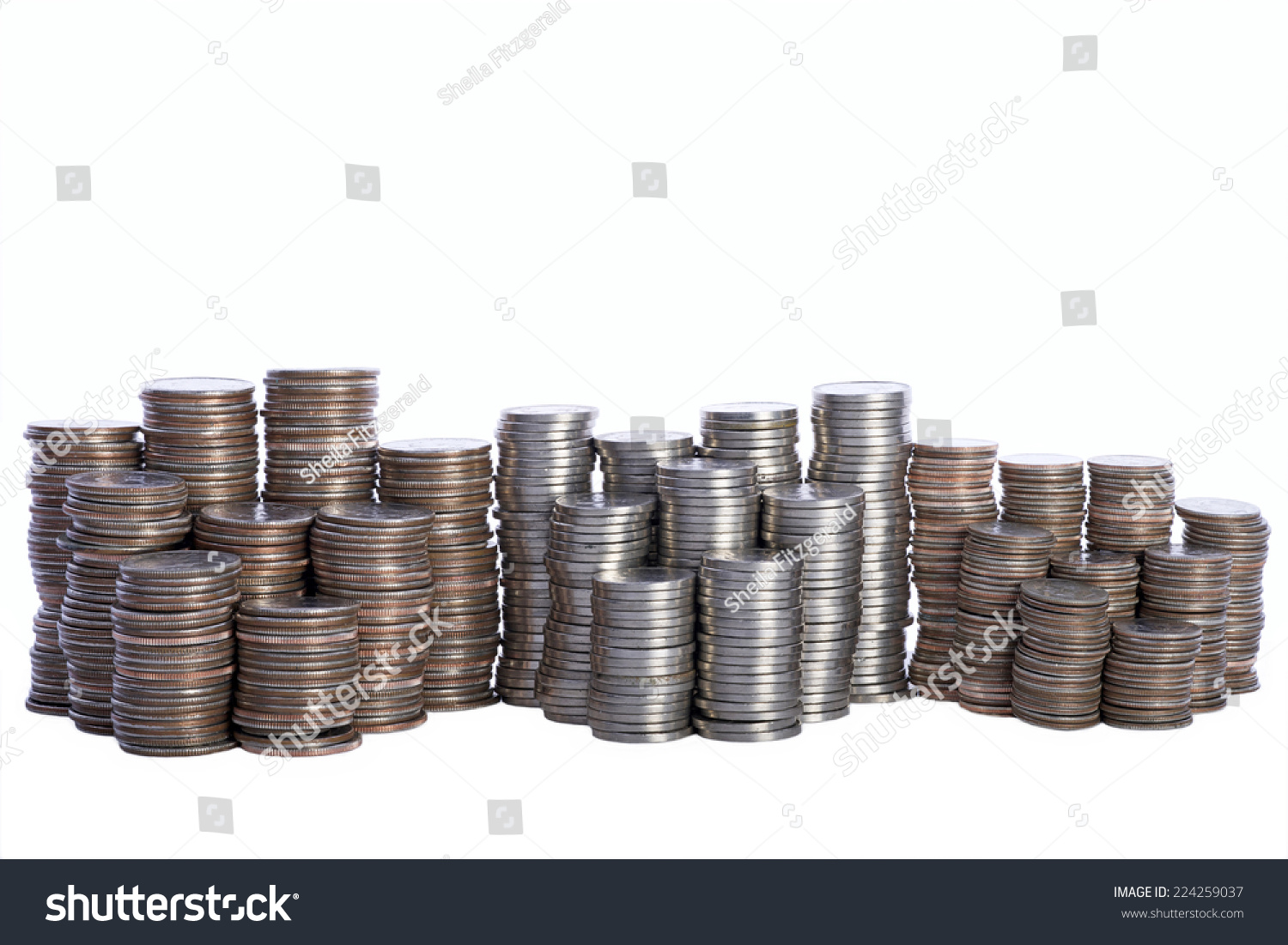 Money Stacks Of Coins Quarters Nickels And Dimes
