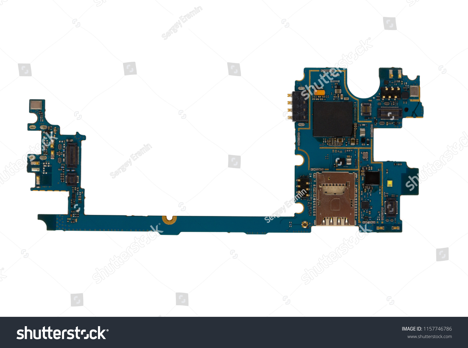 hight resolution of part with microcircuits for the phone on a white background