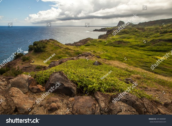 Mountain Landscape With Pacific Ocean In Background Island Maui Hawaii. Composition Of