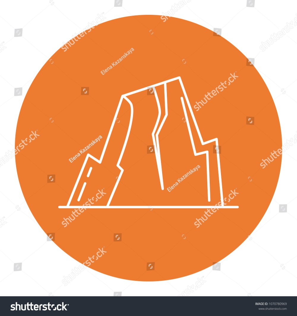 medium resolution of mountain with ledges icon in thin line style rock with plateau symbol in round frame