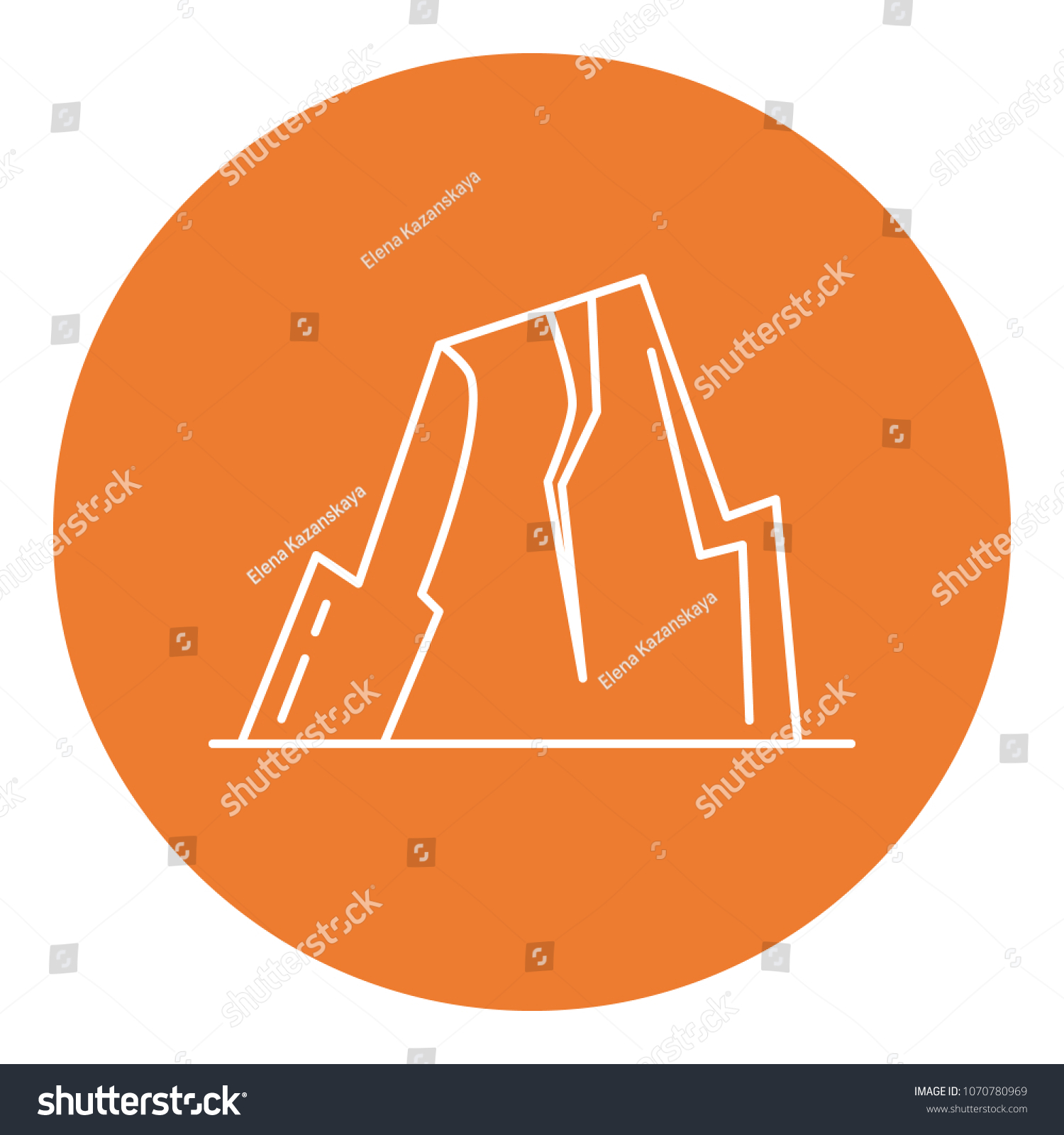 hight resolution of mountain with ledges icon in thin line style rock with plateau symbol in round frame