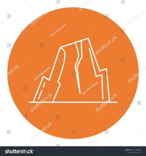 small resolution of mountain with ledges icon in thin line style rock with plateau symbol in round frame