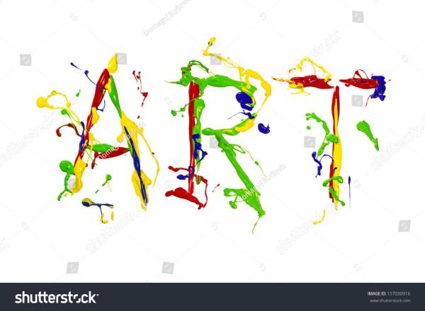Multicolor Paint Splash Painted Word Art Stock