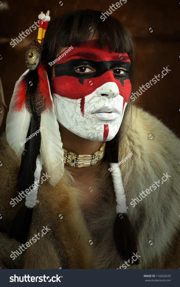 Native American Woman Portrait Painted Face Stock 116020030 - Shutterstock