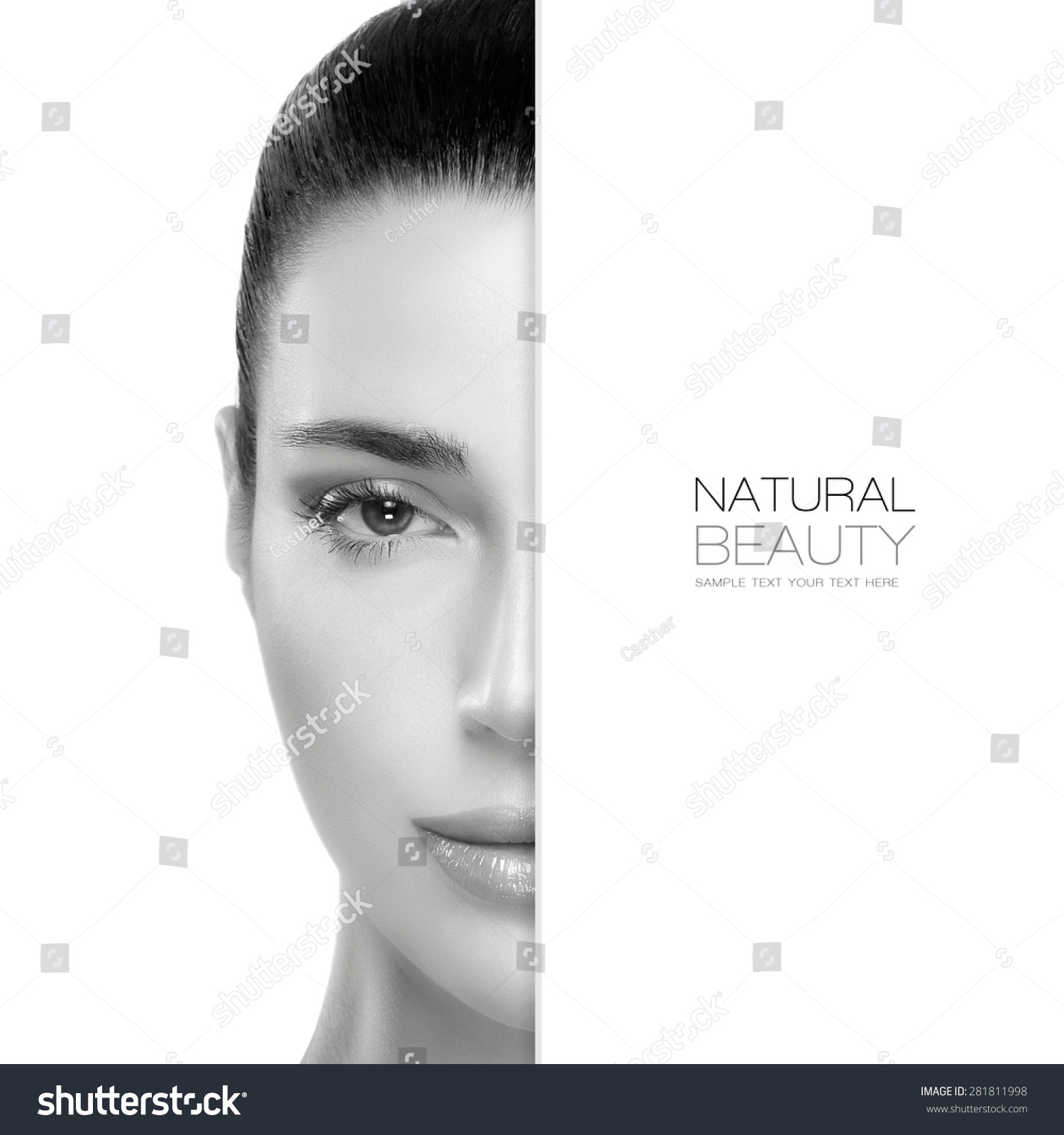 Natural Beauty Skin Care Concept With A Half Face Portrait Of A Gorgeous Woman With Healthy