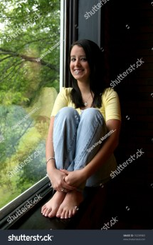 Natural Light Bare Feet Teen Window Stock 15239983