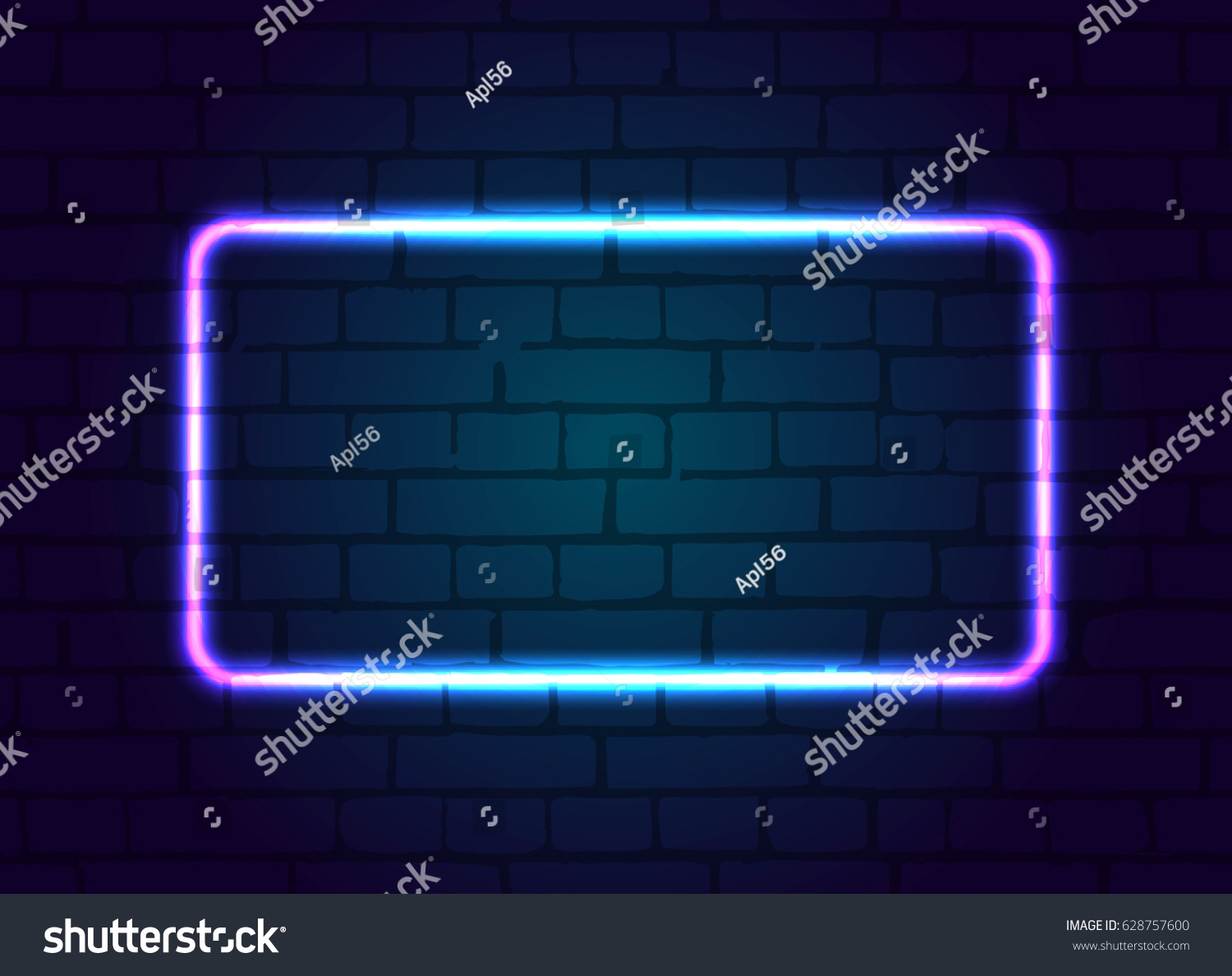 hight resolution of neon sign frame blank against a brick wall