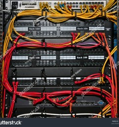 network cables plugged into patch panels and an ethernet switch in a rack  [ 1500 x 1360 Pixel ]