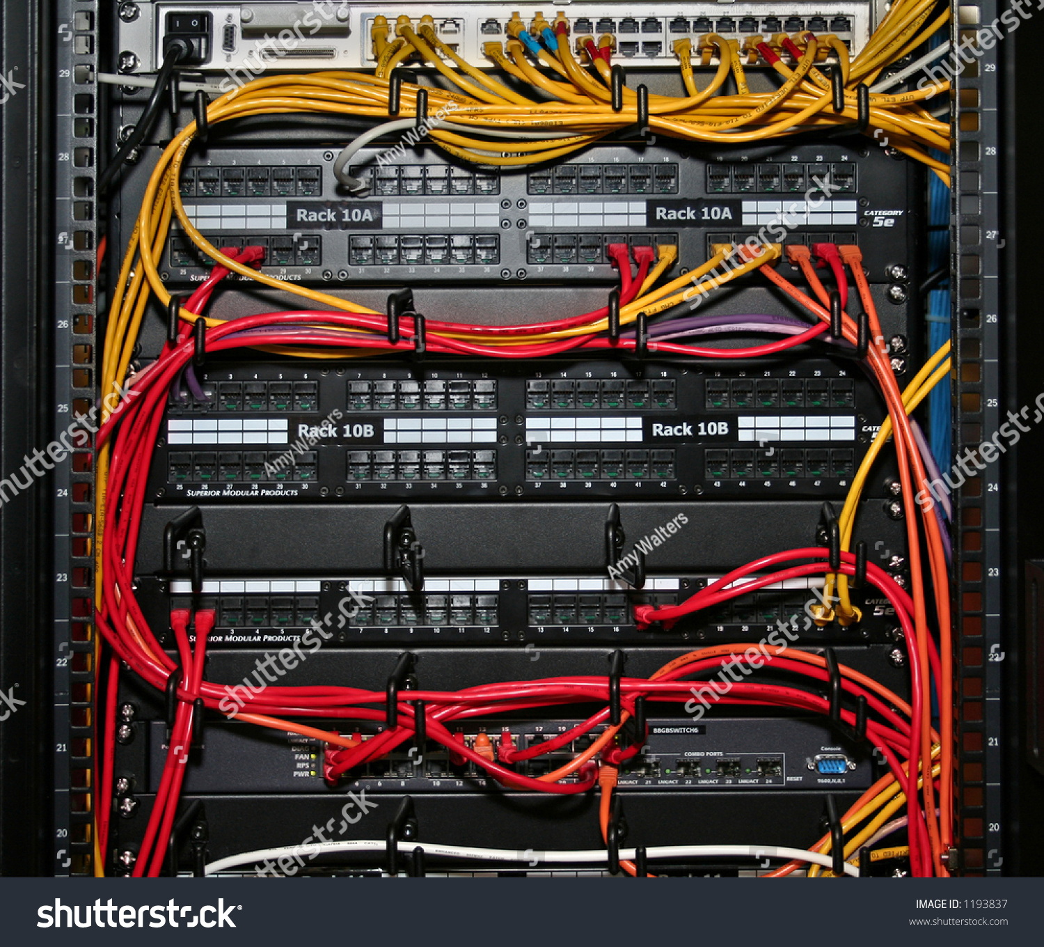 hight resolution of network cables plugged into patch panels and an ethernet switch in a rack