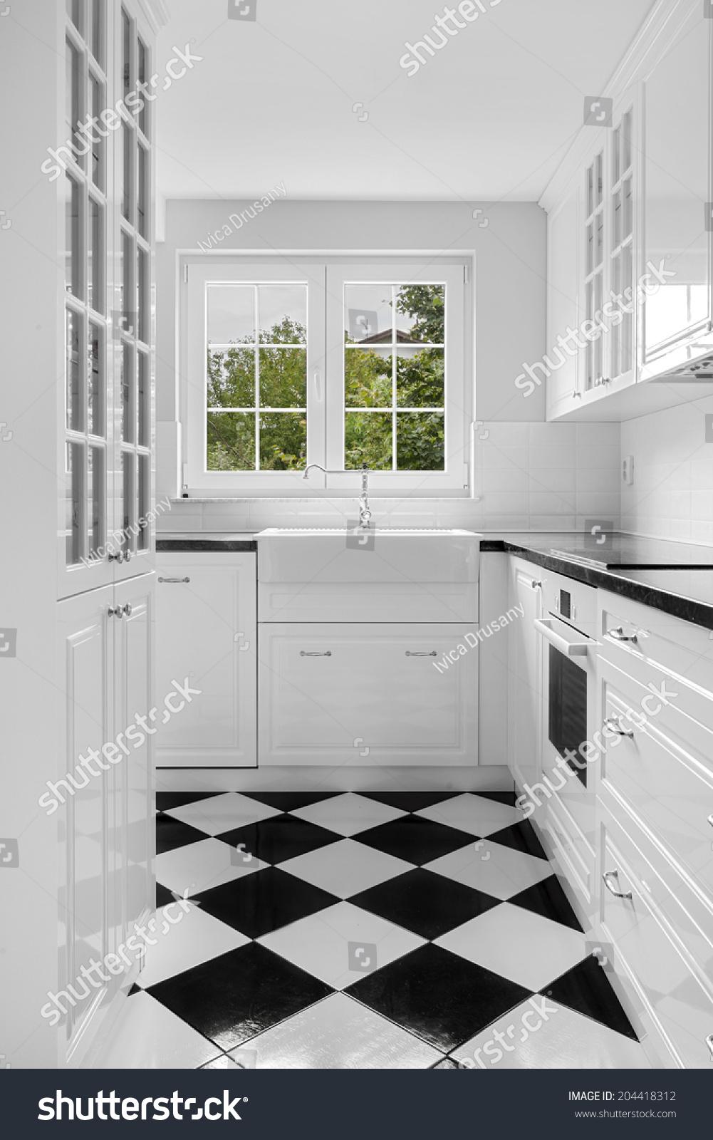 https www shutterstock com image photo new black white kitchen retro details 204418312