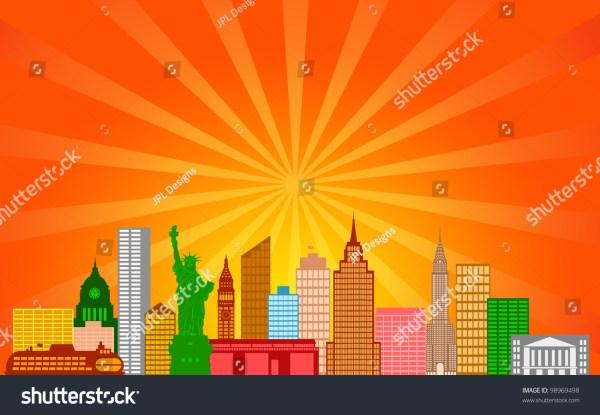 York City Skyline Panorama Color Stock Illustration