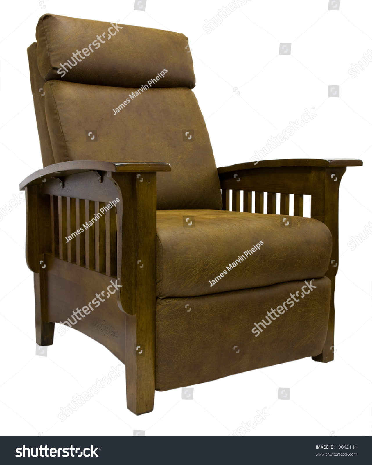 Mission Style Recliner Chair Oak Wood Mission Style Reclining Chair Stock Photo