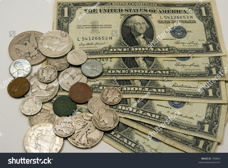 Old American Money Bills Coins Stock Photo