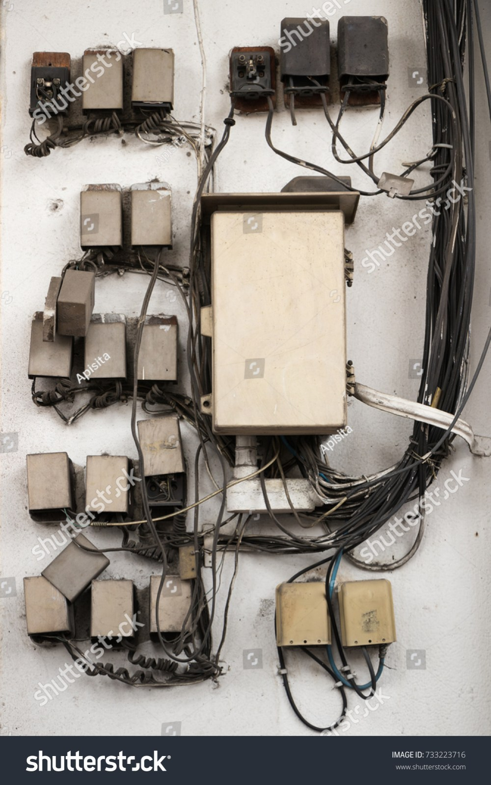 medium resolution of old dusty telephone cable electric wires and junction box on wall