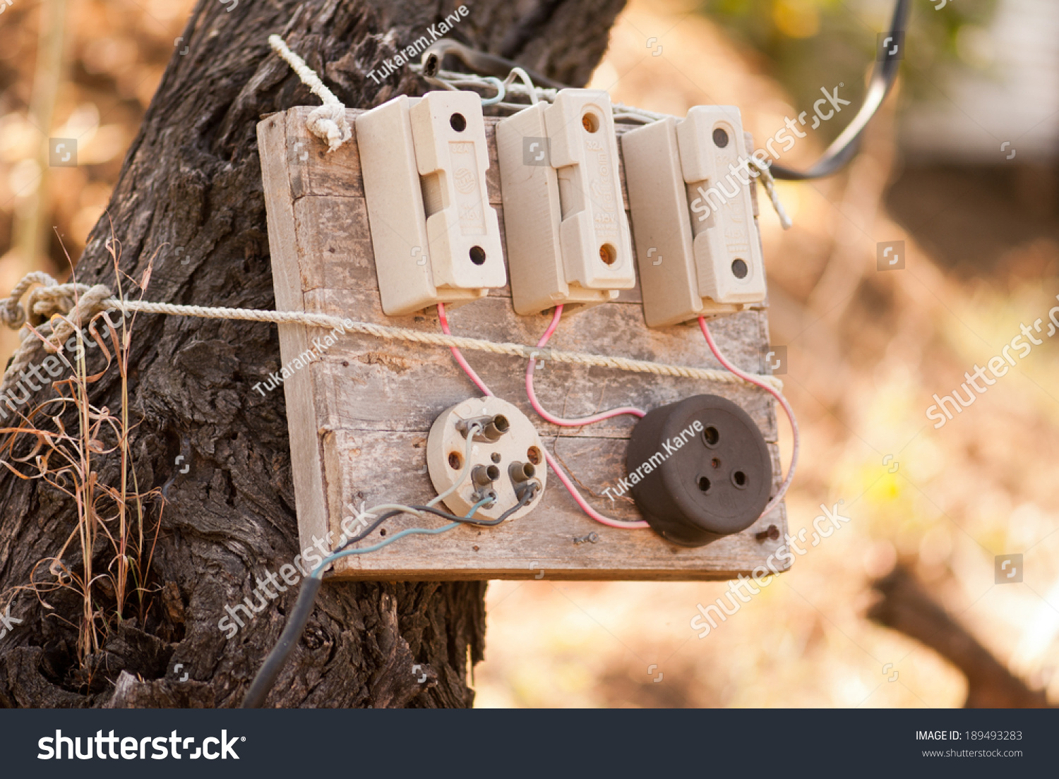 hight resolution of old electric fuse box on tree maharashtra india south east asia