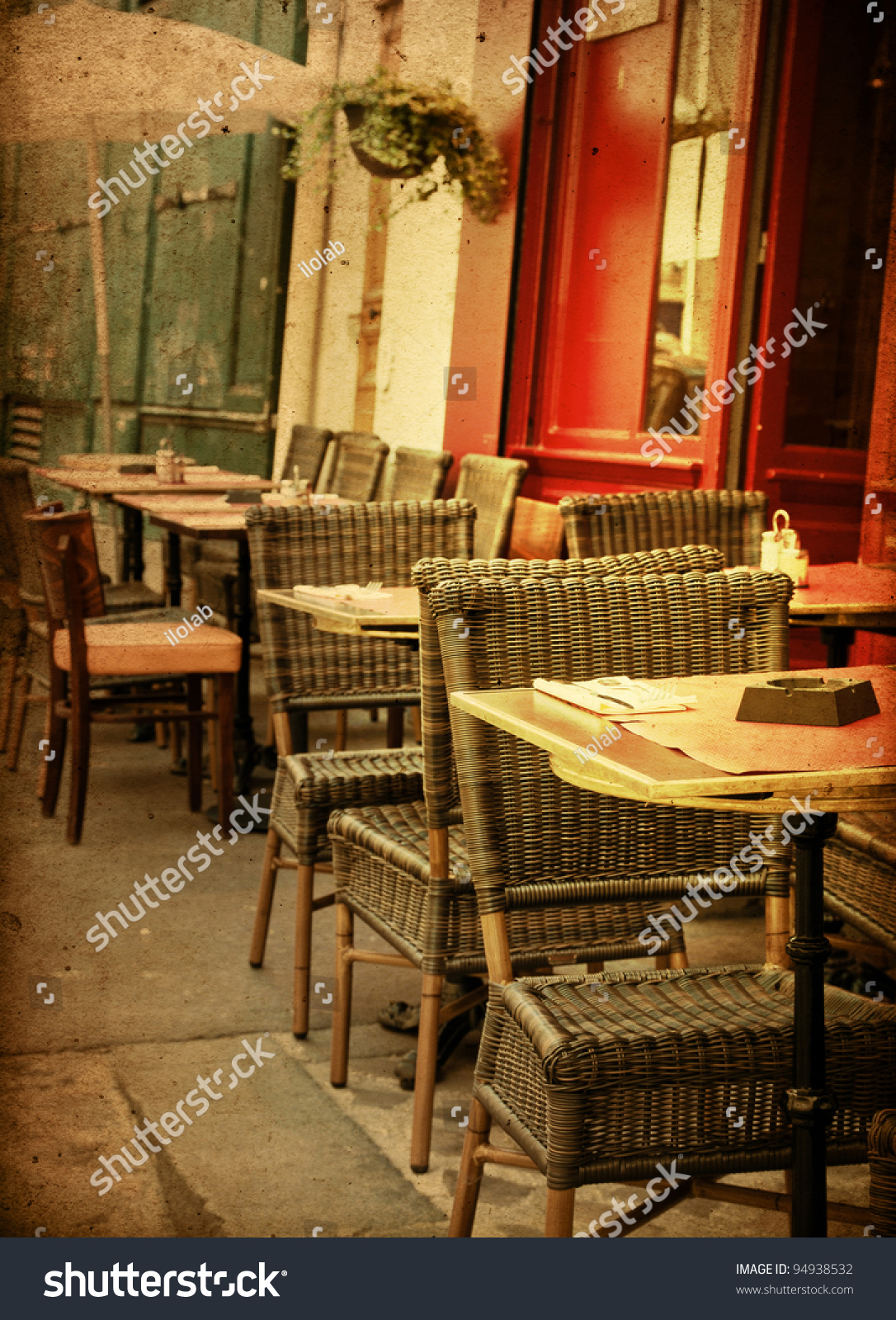 parisian cafe table and chairs black chair covers for folding oldfashioned terrace tables chairsparis france stock