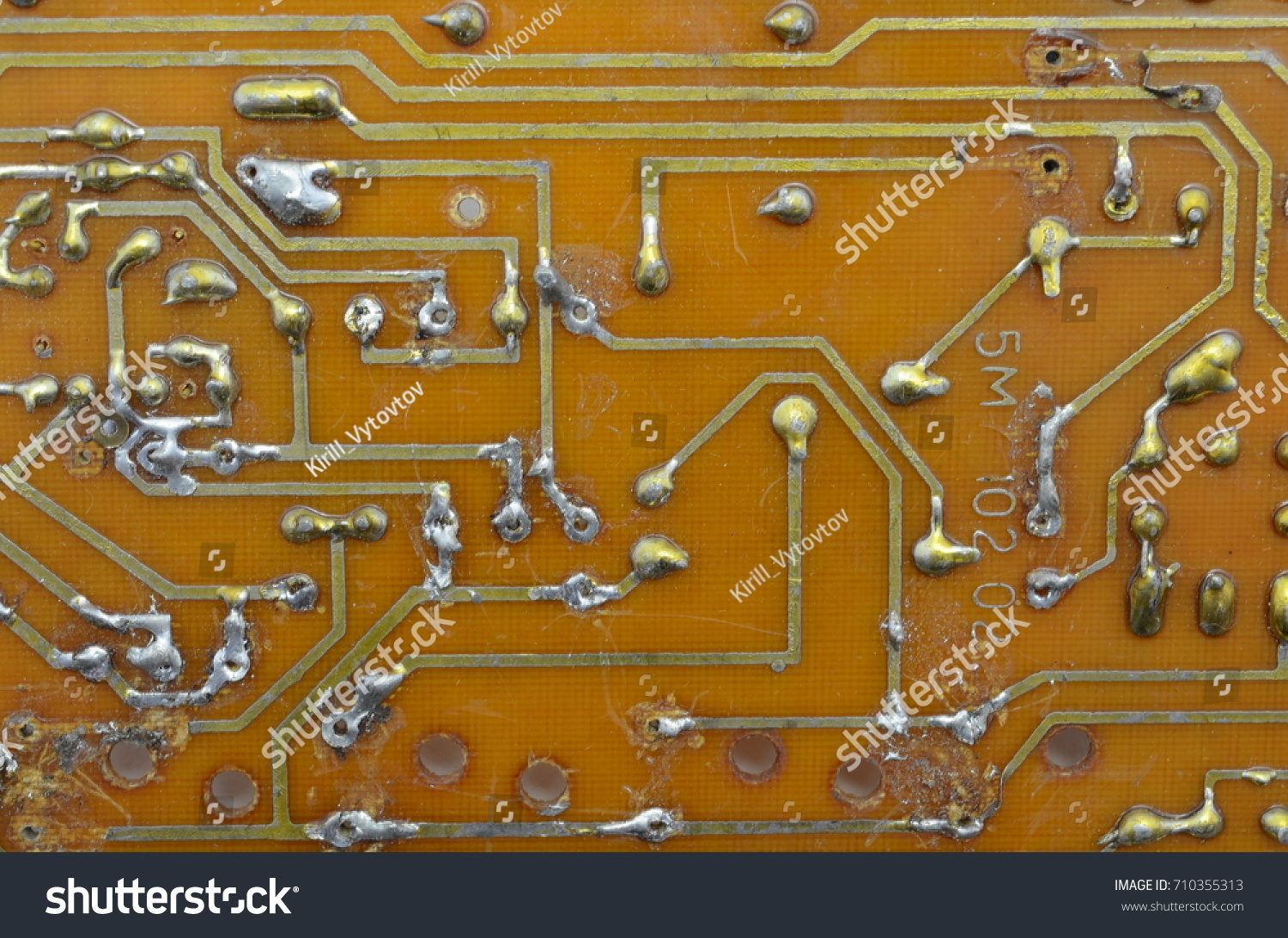 hight resolution of old homemade printed circuit board with electronic components and conductors background