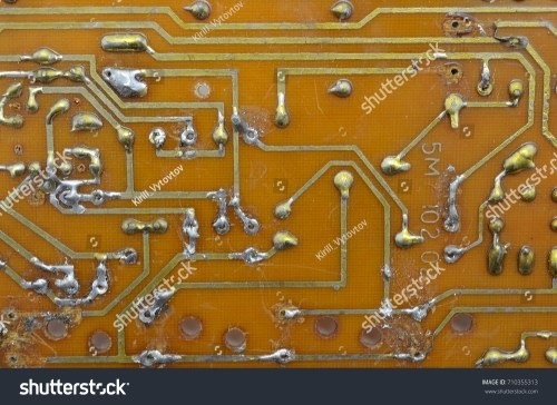 small resolution of old homemade printed circuit board with electronic components and conductors background