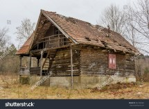 Rural Abandoned Wooden Collapsing House Stock